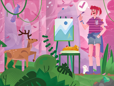 womanpainting on the forest with animal foliage pink flat design flat illustration activity people frog deer bird rabit animal panting paint art
