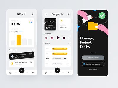 Project management App (Swift.) illustraion project management mobile illustration android flatdesign application design app iphone app app android app ui ux design