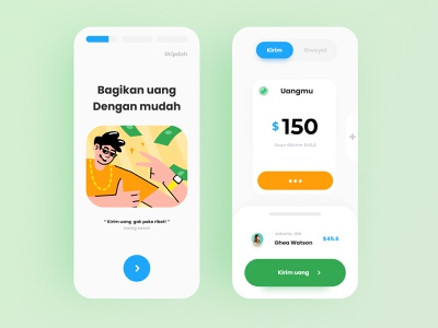 Bagi - money sender app simple onboarding illustration design app iphone app android app ui app ux design