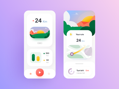Kamana - Walking tracker app walk app walking clean design app android illustration mobile application iphone app android app app ux ui design