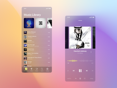 Glossy Music Player ux design ui design mobile app mobile ui media player media player light theme light music app music player music cover playing song modern clean glassmorphism