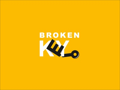 Broken key logo design branding icon vector logo