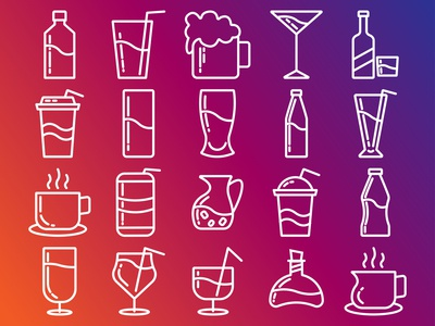 drinks icon collection with outline style
