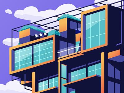 Penthouse illustration buildings perspective isometric illustration isometric building penthouse