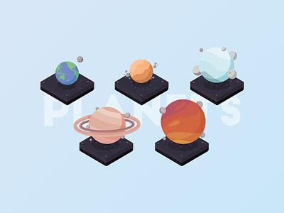 Isometric Illustration - Planets jupiter saturnus neptune venus earth planets illustration isometric