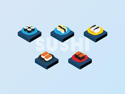 Isometric Illustration - Sushi isometric illustration egg fish salmon nigiri maki sushi