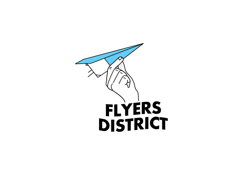 Flyers District fly flying paper logo hand paperplane