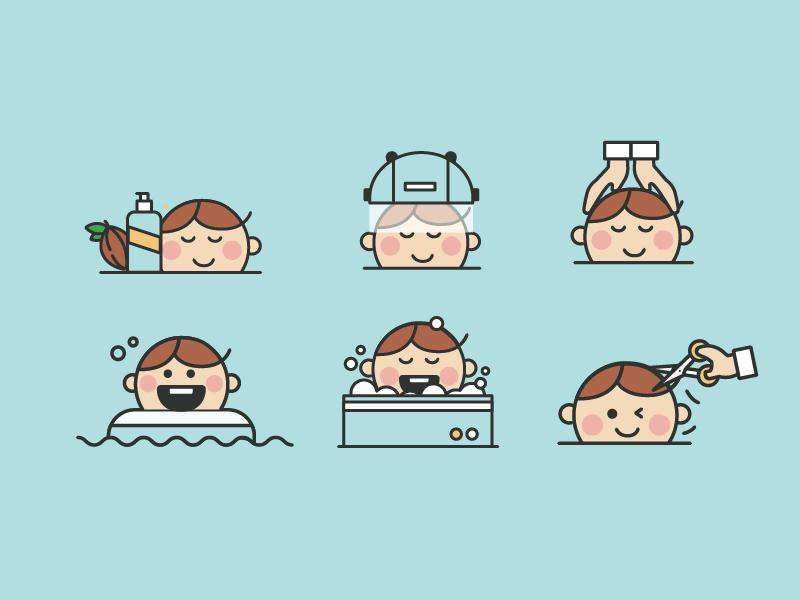 Baby Icon Set illustration vector haircut set icon baby