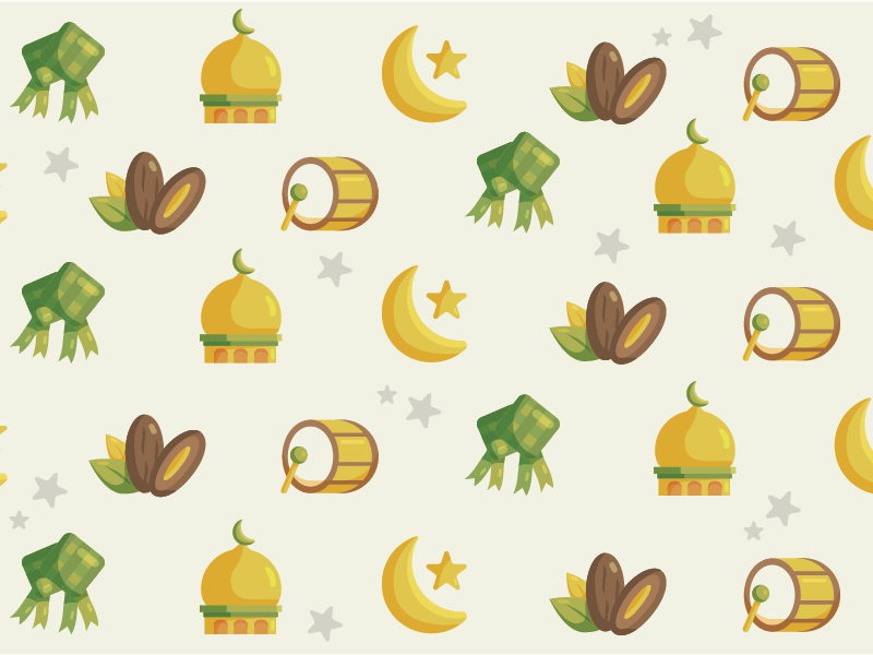 Eid Pattern illustration icon vector pattern mosque kurma ramadhan eid