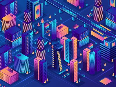 Smart City monas avenger towers cityscape building cities city gradients isometric