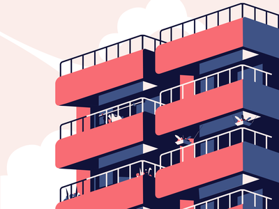 Apartments vector illustration home red angle building apartments