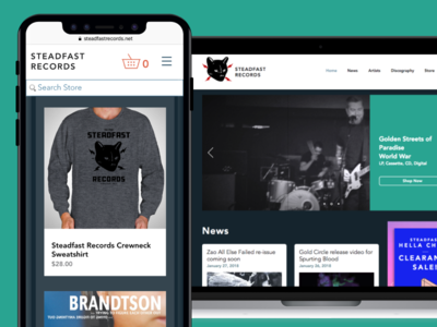 Steadfast Records Responsive Website and eCommerce