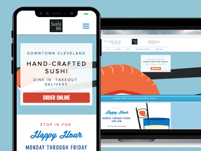 Sushi 86 Responsive Website and Online Ordering Hub online orders sushi restaurant responsive website