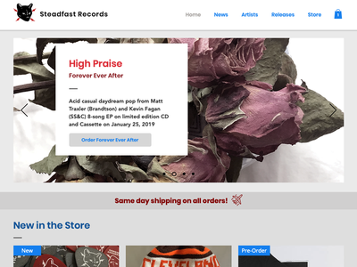 Steadfast Records Website 2.0 typography design online orders logo ecommerce type ux ui