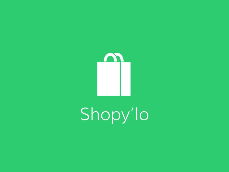 Shopy'lo logo shop ecologic green bag white icon