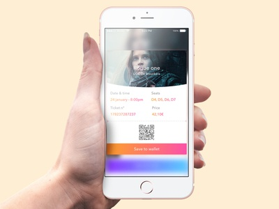 Book ticket card movie ticket wallet ux ui app