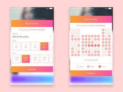 Book ticket - steps wallet ux ui ticket movie card app