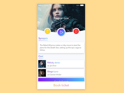 Mookie - movie card rating bookmark ticket book movie mobile card sketch colorful design