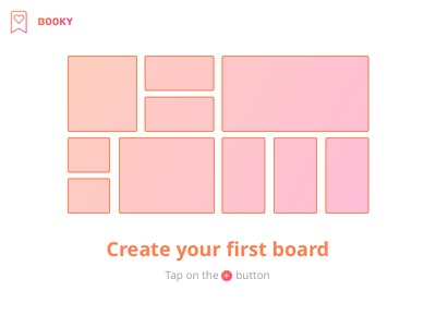 Booky - Board - Empty state ux ui empty state bookmark gradient design booky