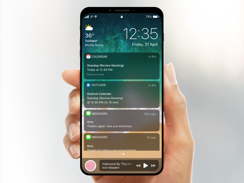 iPhone 8 Concept apple screen lock fingerprint notification mobile design app concept ios iphone