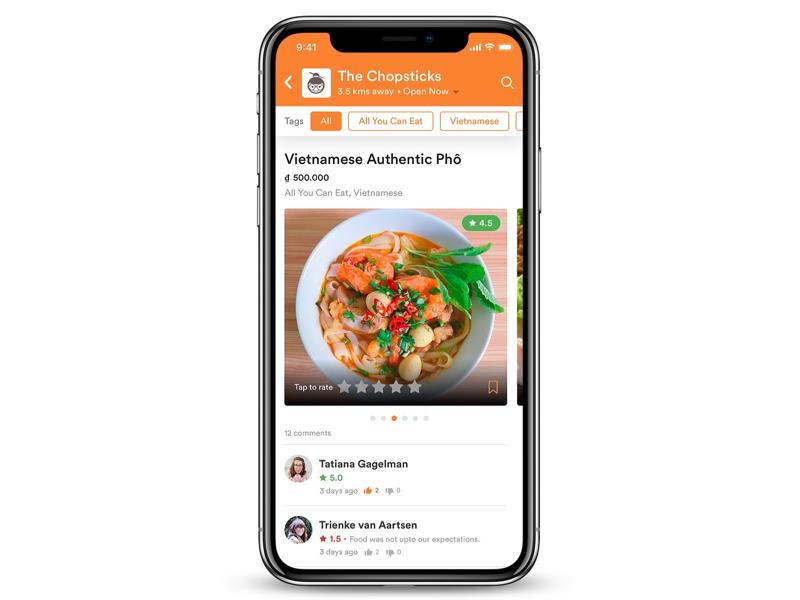 Restaurant Detail Screen iphonexs iphonex ios design poc concept review instagram rating restaurant food