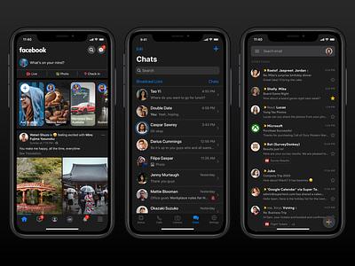 Dark Mode Exploration - Facebook, WhatsApp, Gmail story chat email social app iphone ios facebook whatsapp gmail mode dark