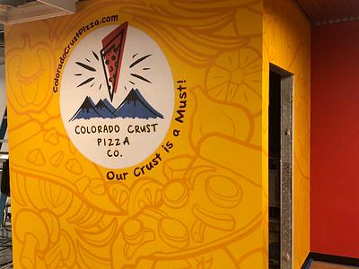Handpainted logo with subtle mural background design logo handpainted decorative custom mural