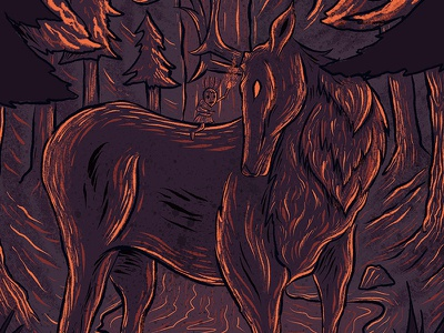 OneSpark to 1,000 Trees - Detail 2 the wild people deer leave no trace natural resource management outdoor education outdoors awareness forest animals stag design digital illustration procreate illustration procreate typography procreate app illustration