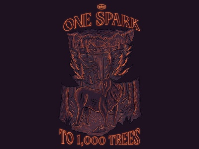 OneSpark to 1,000 Trees resource management outdoor education leave no trace outdoor awareness forest creature outdoors digital illustration procreate illustration procreate typography procreate app illustration