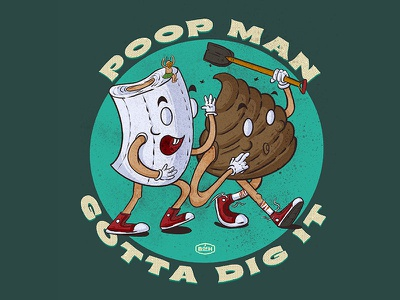 Poop man Gotta Dig It digital illustration procreate illustration procreate typography procreate app illustration
