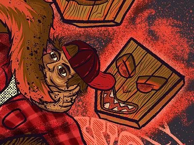 Don't Be A Menace In The Woods - Detail 1 hustligforillustrations shirtdesign teepublic designforgood ibelieve outdoorawareness outdooreducation leavenotrace process procreate digital illustration procreate illustration josie2myfriends josebarrientos typography procreate app illustration