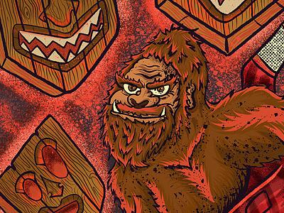 Don't Be Menace In The Woods - Detail 2 outdoorawareness josie2myfriends josebarrientos leavenotrace outdooreducation camping bigfoot digital illustration procreate illustration procreate typography procreate app illustration