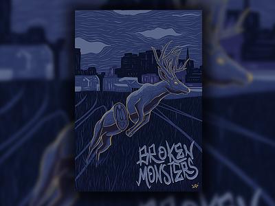 Broken Monsters detroit horror literature dissected deer fan art book cover digital illustration procreate typography procreate illustration