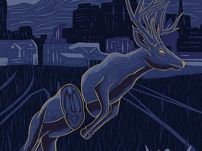 Broken Monsters detail 1 horror literature book cover deer illustration procreate illustration