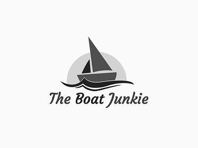 The Boat Junkie Logo illustration branding brand wave logo boat logo logo sun wave sea boat