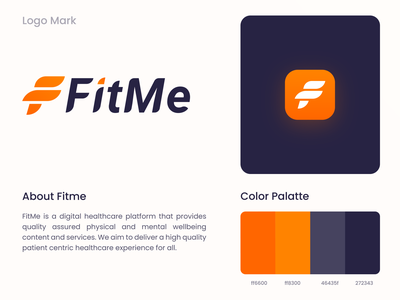 Fitme  Approved Logo fitme app logo vector clean typography logotype fitness logo mark brand identity f logo fitness logo branding