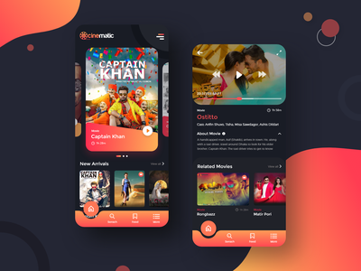 Cinematic Movie App cinema minimal app entertainment clean app trending ux ui card dark ui media movie app film movie app
