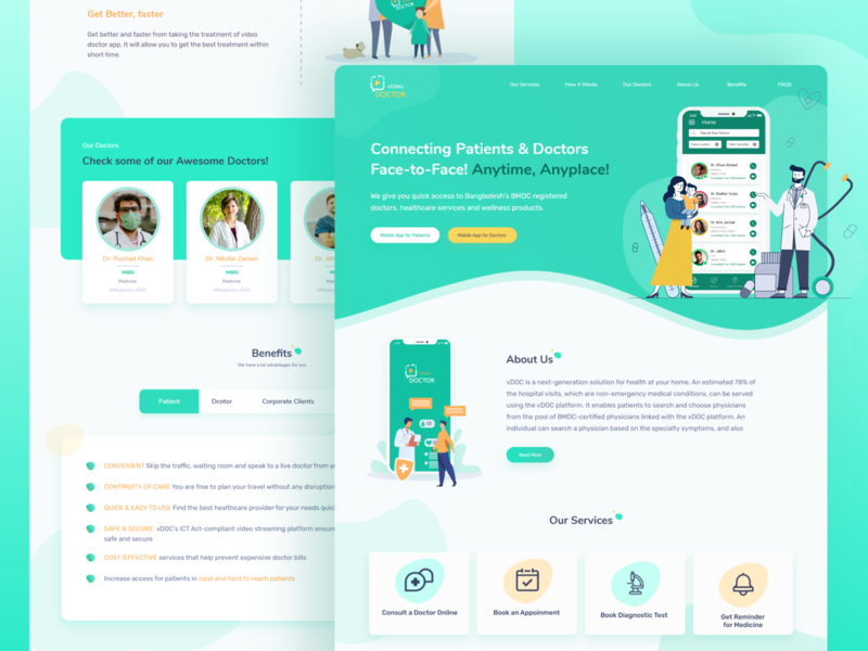 Video Doctor Website clean ui service doctor appointment digital doctor health medical design patient live chat consultation video call ux ui landing page medical website doctor