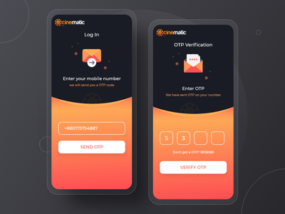 Log in with Phone Verification - OTP Code clean ui clean ux app ui onboarding mobile app register create account account sign up sign in verification verify otp login