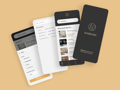 Hairesse - Luxury Booking System UI hairdresser hair salon luxurious gold search mobile booking elegant luxury design luxury dailyui ux minimal illustration clean ui clean design adobe xd design app ui