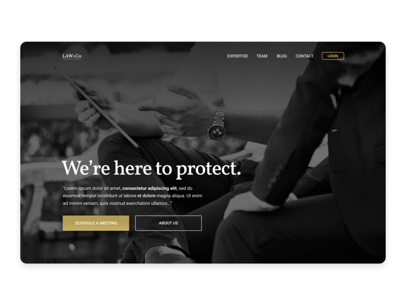 Law Firm Page Concept landing page concept ui sketch elegant black and white image background schedule client advogado advocacy consultant lawyer freelance law firm law