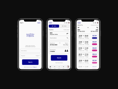 WizzAir Concept - App Ui Design ticket booking app booking product design minimalistic app ui app designer app design ui airline airlines modern minimal clean