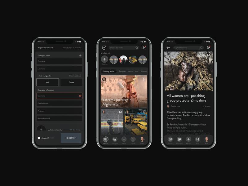 News Startup - App Ui Design ui design uiux start up startup dark theme dark app dark dark ui web design designer app product design minimalistic app ui app designer app design ui modern minimal clean