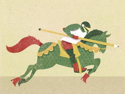 Break A Lead illustration knight pencil horse