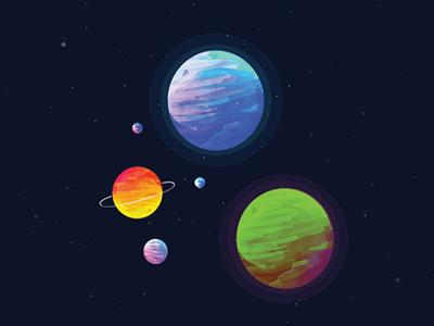 Bubble Gum Planets illustration solar system galaxy planets