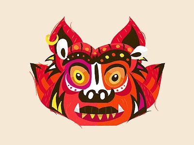 Barong illustration monster mask barong