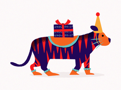 Party Guest - Tiger animal present birthday party illustration tiger