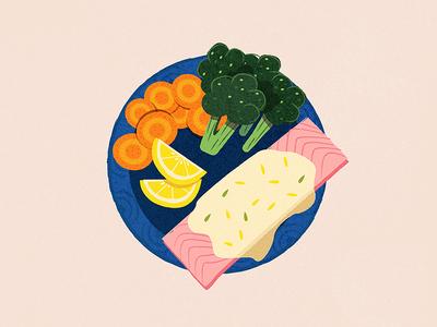 Salmon with herbed yoghurt and vegetables illustration meal dinner broccoli carrot lemon salmon