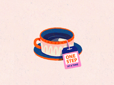 A cup of tea teacup cup tea bag typography illustration teabag tea
