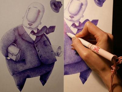 mr. bureaucrat illustration hand-drawn character